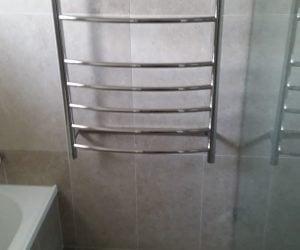 bathroom renovation - towel rack and new tiling newcastle